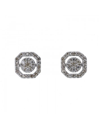 Square pave set diamonds with halo earrings in 9 K gold