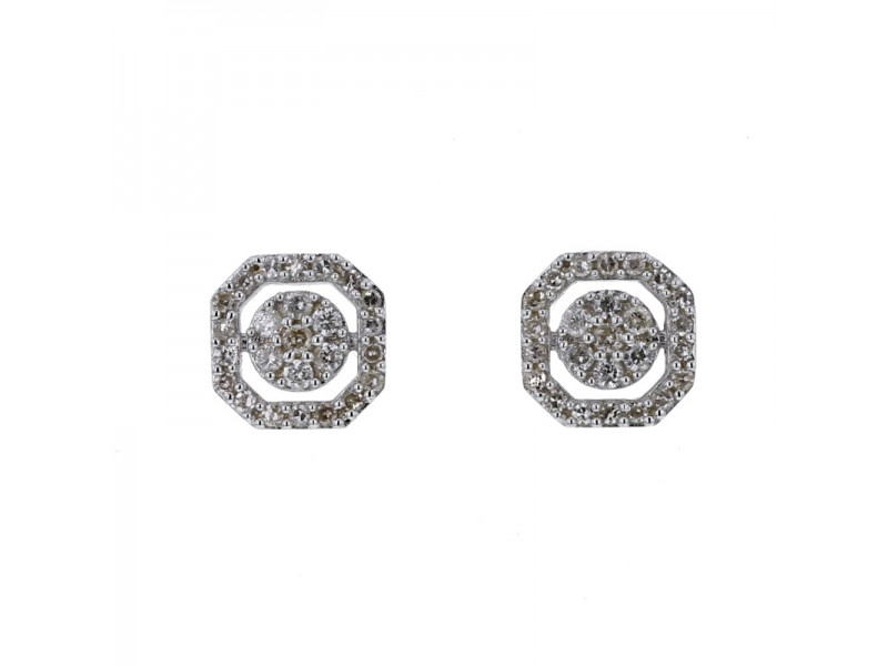 Boucles d'oreilles empire multi-pierres diamants en or blanc