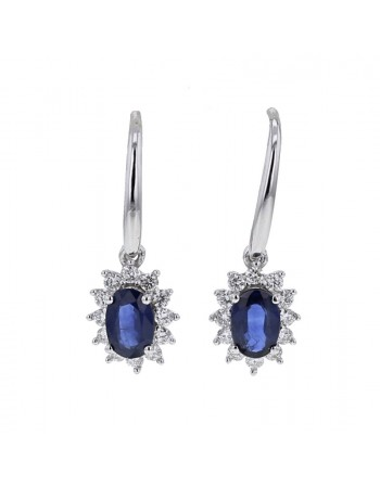 Sapphire and diamonds earrings in white gold - 18 K gold: 2.64 Gr
