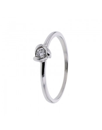 Diamond engagement ring in white gold - 9 K gold: 1.30 Gr