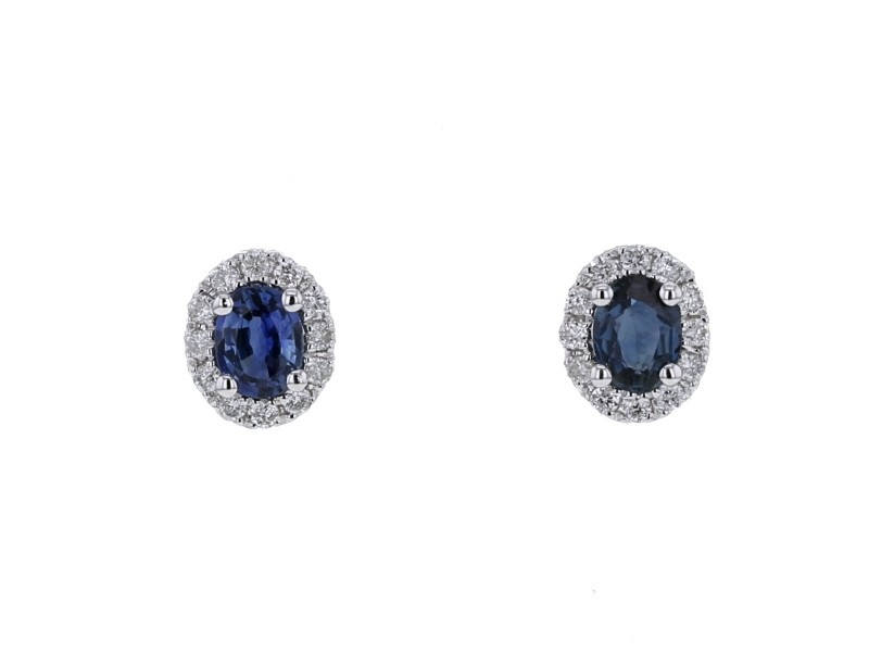 Sapphire and diamonds earrings in white gold - 9 K gold: 1.20 Gr