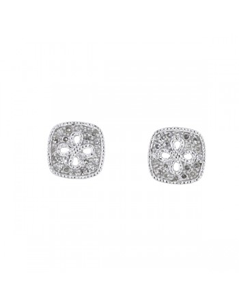 Diamond earrings in white gold - 18 K gold: 1.90 Gr