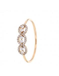 Bague trois anneaux pavés de diamants en or rose