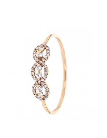 Diamond ring in rose gold - 18 K gold: 0.91 Gr