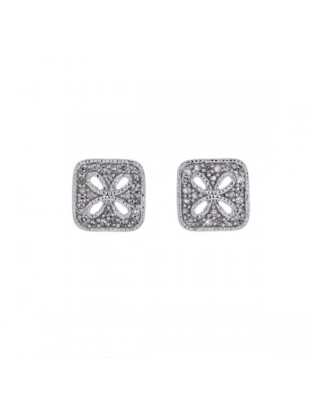 Diamond earrings in white gold - 18 K gold: 2.13 Gr