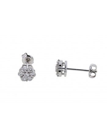 Boucles d'oreilles multi-pierres diamants illusions en or blanc