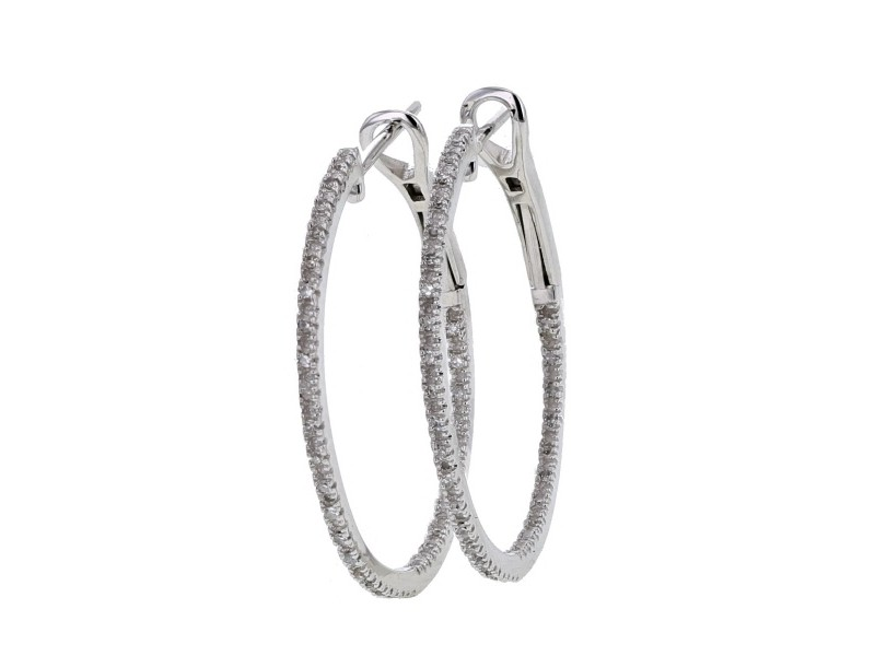 Diamond earrings in white gold - 18 K gold: 3.93 Gr