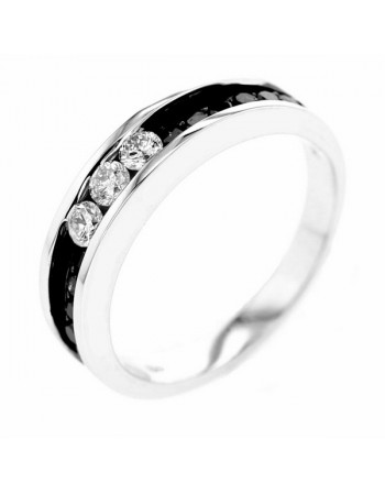 Black and white diamond channel set wedding ring in 9 K gold