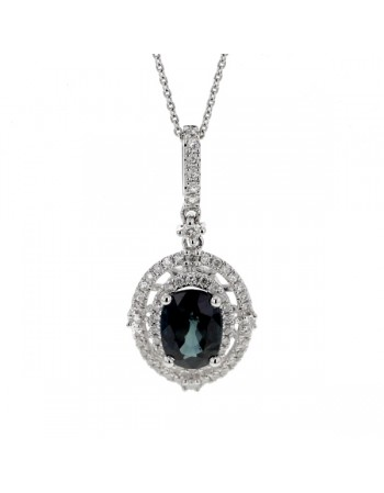 Sapphire and diamonds pendant in white gold - 9 K gold: 2.72 Gr