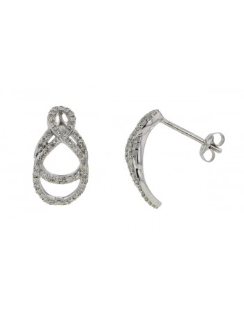 Pave set diamond earrings in 9 K gold