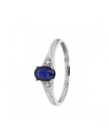 Sapphire and diamond ring in 18 K gold