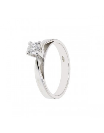 Diamond engagement ring in white gold - 18 K gold: 3.30 Gr