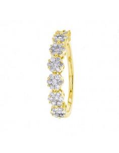 Multi-stone diamond wedding ring in 18 K gold