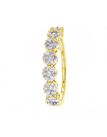Bague alliance multi-pierres diamants en or jaune