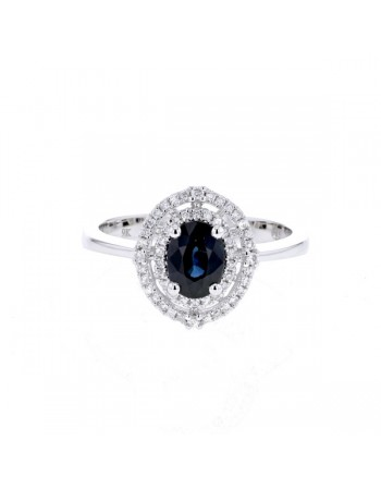Sapphire and diamonds ring in white gold - 9 K gold: 2.72 Gr
