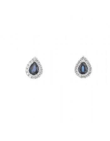 Sapphire and diamonds earrings in white gold - 18 K gold: 1.12 Gr