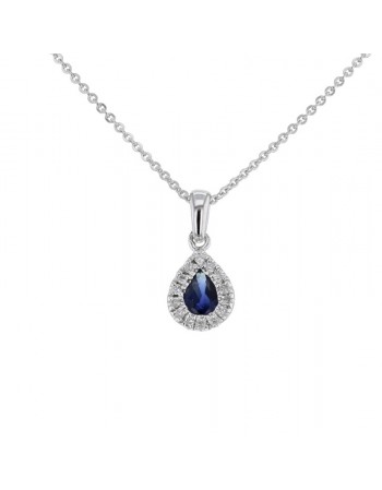 Sapphire and diamonds pendant in white gold - 18 K gold: 0.45 Gr
