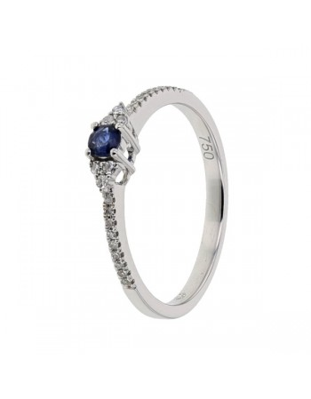 Sapphire and diamonds ring in white gold - 18 K gold: 2.01 Gr