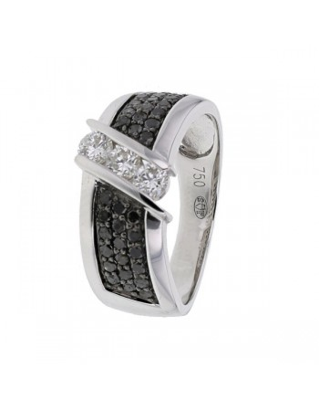 Black and white pave set diamond ring in 18 K gold