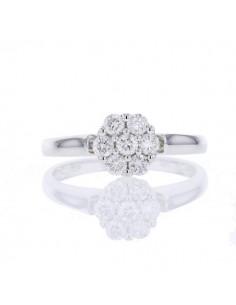 Bague chou diamants en or blanc