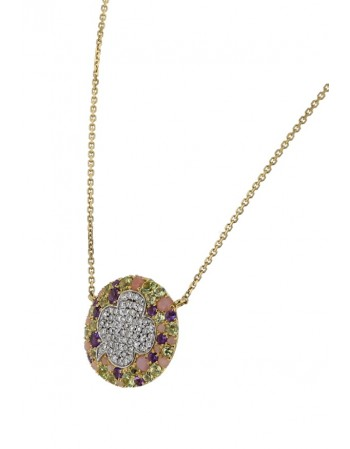 Multi-stone peridot, amethyst, pink quartz and diamonds pebble necklace in 18 K gold