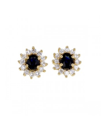 Diamond halo earrings with sapphires in 18 K gold