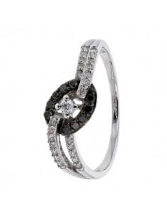 Bague pavées avec des diamants noirs et blancs en or blanc