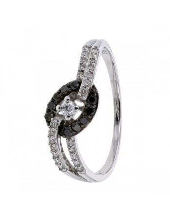 Diamond ring in white gold - 9 K gold: 1.64 Gr