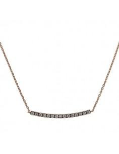 Collier barrette sertie diamants montée sur chaîne en or rose