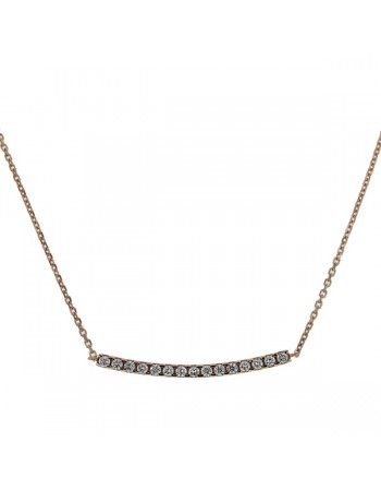 Diamond necklace in rose gold - 18 K gold: 2.55 Gr
