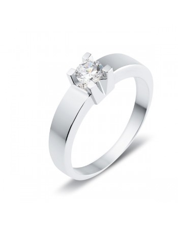 Diamond engagement ring in white gold - 18 K gold: 3.80 Gr