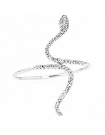 Snake shape ring pave set diamonds in 18 K gold