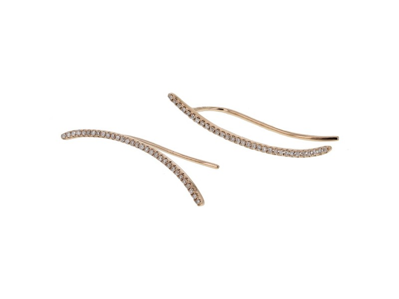 Boucles d'oreilles tiges diamants en or rose