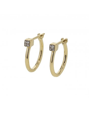 Diamond earrings in yellow gold - 18 K gold: 1.15 Gr