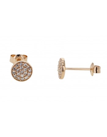 Diamond earrings in rose gold - 18 K gold: 1.00 Gr