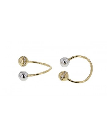 Diamond earrings in yellow gold - 18 K gold: 2.09 Gr