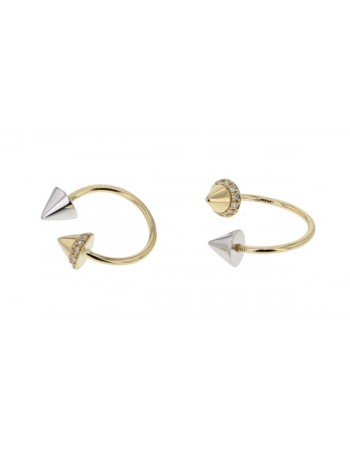 Diamond earrings in yellow gold - 18 K gold: 1.75 Gr