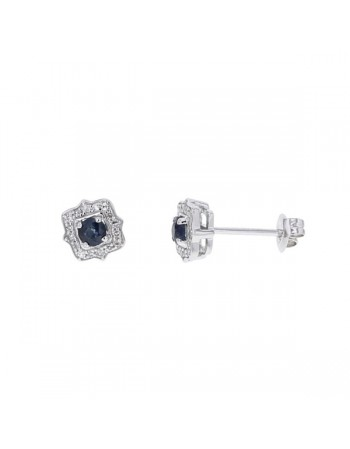 Sapphire and diamonds earrings in white gold - 18 K gold: 1.60 Gr