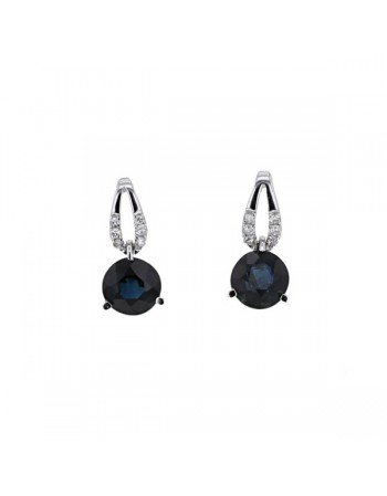 Boucles d'oreilles saphir entourage de diamants en or blanc