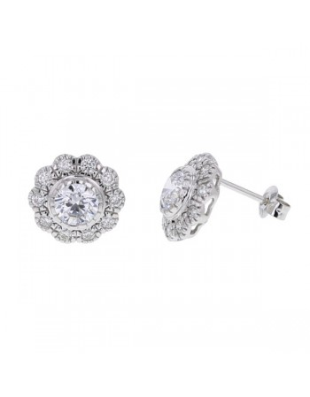 Diamond earrings in white gold - 18 K gold: 3.16 Gr
