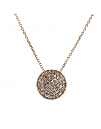 Diamond necklace in rose gold - 18 K gold: 2.85 Gr