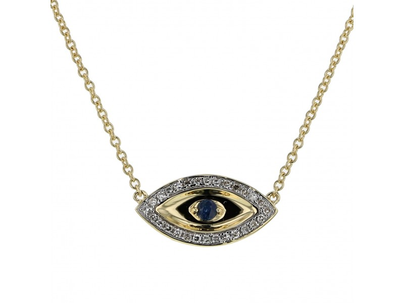 Sapphire and diamonds necklace in yellow gold - 18 K gold: 3.25 Gr