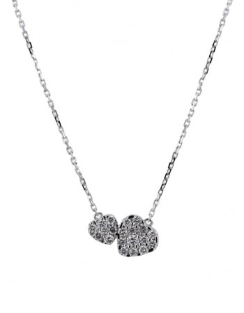 Collier coeurs diamant en or blanc