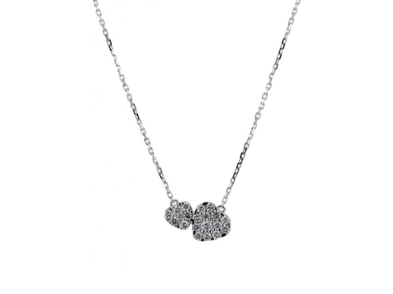 Diamond necklace in white gold - 18 K gold: 2.20 Gr
