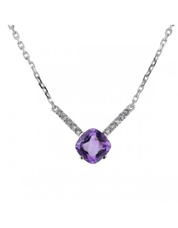 Collier amethyste et diamant en or blanc
