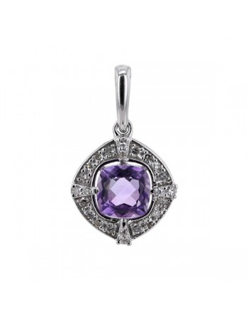 Diamond pendant in white gold - 18 K gold: 1.10 Gr