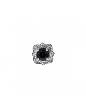 Sapphire and diamonds pendant in white gold - 18 K gold: 0.90 Gr