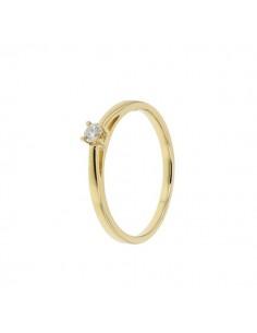 Solitaire diamant monté sur 4 griffes tete basse en or jaune