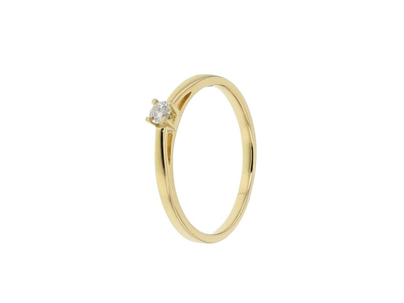 Diamond engagement ring in yellow gold - 18 K gold: 1.90 Gr