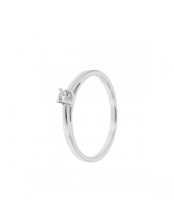 Diamond engagement ring in white gold - 18 K gold: 1.90 Gr